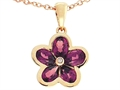 Tommaso Design™ .85 inch long Flower Pendant made with one Diamond and Genuine Pear Shape Rhodolite Garnet.