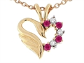 Tommaso Design™ Heart Shaped Love Swan Pendant with Genuine Ruby and Diamonds