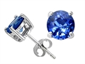 Tommaso Design™ Round 4.5mm Rare Diamond Cut Medium Color Genuine Sapphire Earring Studs
