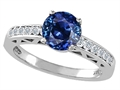 Tommaso Design™ Created Sapphire and Genuine Diamond Solitaire Engagement Ring