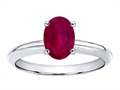 Tommaso Design Large Oval 8x6mm GENUINE Ruby Solitaire Engagement Ring