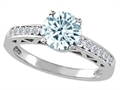 Tommaso Design™ Genuine Aquamarine and Diamond Solitaire Engagement Ring
