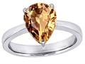 Original Star K™ Large 11x8 Pear Shape Solitaire Ring With Simulated Imperial Yellow Topa