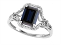 Tommaso Design™ 8x6mm Emerald Cut Genuine Black Sapphire Ring