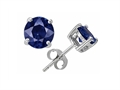 Original Star K Small Genuine 4mm Round Sapphire Earring Studs