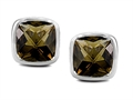Original Star K Classic Cushion Checker Board Cut 6mm Genuine Smoky Quartz Earring Studs