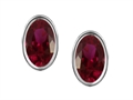 Original Star K Genuine Oval Ruby Bezel Set Small Earring Studs
