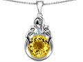 Original Star K™ Large Loving Mother With Twins Children Pendant With Round 10mm Simulated Yellow Sapphire