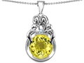 Star K™ Large Loving Mother And Family Pendant Necklace With Round 10mm Simulated Yellow Sapphire