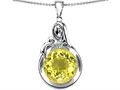 Original Star K Loving Mother With Child Family Large Pendant With Round 10mm Simulated Yellow Sapphire