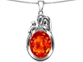 Original Star K™ Loving Mother And Father With Child Pendant With Oval 11x9mm Simulated Mexican Fire Opal