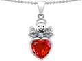 Star K™ Love Angel Pendant Necklace with 10mm Simulated Orange Mexican Fire Opal Heart