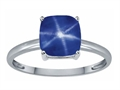Tommaso Design™ Created Star Sapphire 7mm Cushion Cut Solitaire Engagement Ring