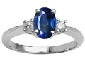 Tommaso Design™ Genuine Oval Sapphire Engagement Ring
