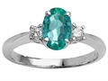 Tommaso Design Genuine Oval Emerald Engagement Ring