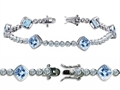 Original Star K™ High End Tennis Bracelet With 6pcs 7mm Cushion Cut Simulated Aquamarine