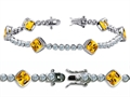 Original Star K High End Tennis Bracelet With 6pcs 7mm Cushion Cut Genuine Citrine