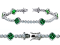 Original Star K High End Tennis Bracelet With 6pcs 7mm Cushion Cut Simulated Emerald