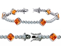Original Star K™ High End Tennis Bracelet With 6pcs 7mm Cushion Cut Simulated Mexican Fire Opal