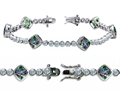 Original Star K High End Tennis Bracelet With 6pcs 7mm Cushion Cut Rainbow Mystic Topaz