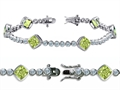 Original Star K™ High End Tennis Bracelet With 6pcs 7mm Cushion Cut Genuine Peridot