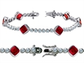 Original Star K™ High End Tennis Bracelet With 6pcs 7mm Cushion Cut Lab Created Ruby