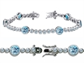 Original Star K™ High End Tennis Bracelet With 6pcs Round 6mm Simulated Aquamarine