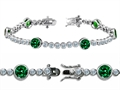 Original Star K™ High End Tennis Bracelet With 6pcs 6mm Round Simulated Emerald