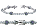 Original Star K™ High End Tennis Bracelet With 6pcs 6mm Round Mystic Topaz