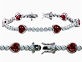 Original Star K™ High End Tennis Bracelet With 6pcs 7mm Heart Shape Genuine Garnet