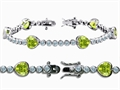 Original Star K™ High End Tennis Bracelet With 6pcs 7mm Genuine Heart Peridot