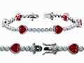 Original Star K™ High End Tennis Bracelet With 6pcs 7mm Heart Shape Created Ruby