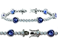 Original Star K™ High End Tennis Bracelet With 6pcs 7mm Heart Shape Created Sapphire