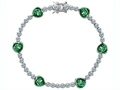 Original Star K Classic Heart Shape 7mm Simulated Emerald Tennis Bracelet