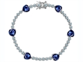 Original Star K Classic Heart Shape 7mm Created Sapphire Tennis Bracelet