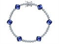 Original Star K Classic Cushion Cut 7mm Created Sapphire Tennis Bracelet
