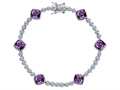 Original Star K Classic Cushion Cut 7mm Genuine Amethyst Tennis Bracelet