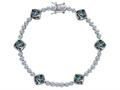 Original Star K Classic Cushion Cut 7mm Rainbow Mystic Topaz Tennis Bracelet