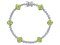Original Star K Classic Cushion Cut 7mm Genuine Peridot Tennis Bracelet