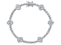 Original Star K Classic Cushion Cut 7mm Genuine White Topaz Tennis Bracelet