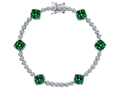 Original Star K™ Classic Cushion Cut 7mm Simulated Emerald Tennis Bracelet