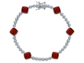 Original Star K™ Classic Cushion Cut 7mm Created Ruby Tennis Bracelet