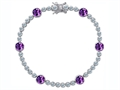 Original Star K Classic Round 6mm Genuine Amethyst Tennis Bracelet