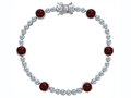Original Star K Classic Round 6mm Genuine Garnet Tennis Bracelet