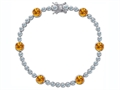 Original Star K Classic Round 6mm Genuine Citrine Tennis Bracelet