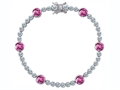Original Star K™ Classic Round 6mm Created Pink Sapphire Tennis Bracelet