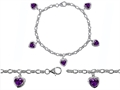 Original Star K™ High End Tennis Charm Bracelet With 5pcs 7mm Heart Shape Genuine Amethyst