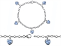 Original Star K™ High End Tennis Charm Bracelet With 5pcs 7mm Heart Shape Simulated Aquamarine