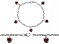 Original Star K High End Tennis Charm Bracelet With 5pcs 7mm Heart Shape Genuine Garnet