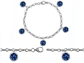 Original Star K High End Tennis Charm Bracelet With 5pcs 7mm Round Lab Created Sapphire